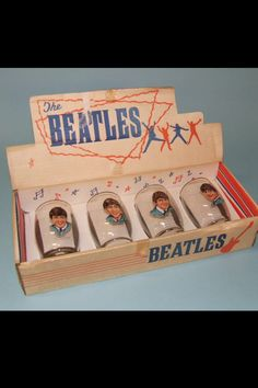 Set of Beatles drinking glasses - in original display box - sold in England in1963