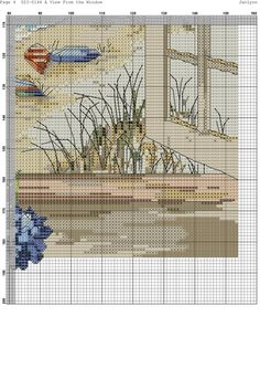 a view from the Cross Stitch Designs, Cross Stitch Patterns, Cross Stitching, Cross Stitch Embroidery, Cross Stitch Landscape, Cross Stitch Flowers, Christmas Cross, Quilting Designs, Pixel Art
