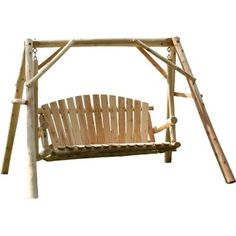 This roll back and bottom porch swing makes a beautiful and comfortable addition to your outdoor space. Enjoy several hours of swinging and relaxation. Cedar Furniture, Log Cabin Furniture, Outdoor Lounge Furniture, Rustic Dining Room Sets, Northern White Cedar, Picnic Table Plans, Wood Adirondack Chairs, Cedar Log, Wood Plans
