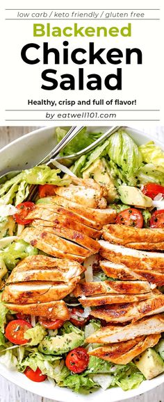 Blackened Chicken and Avocado Salad - - Crisp and full of flavor, this easy chicken salad with avocado is the easiest and healthiest meal you will ever make! - by aufstrich dessert pflanzen recipes rezept salad salat toast Avocado Dessert, Avocado Salad Recipes, Avocado Smoothie, Avocado Chicken Salad, Easy Salad Recipes, Chicken Salad Recipes, Healthy Recipes, Zucchini Salad, Roast Chicken Salad