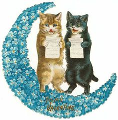 Victorian Valentine scrap of two cats singing on crescent moon.