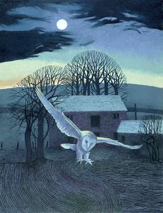 Annie Ovenden - The Barn - Night Time Owl Art, Bird Art, Art Nouveau, A Level Art, Naive Art, Landscape Art, Night Time, Printmaking, William Morris