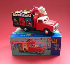 Vintage Tin Toy Car Circus Truck Friction MIB