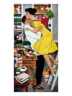 """Late in Love - Saturday Evening Post """"Leading Ladies"""", November 1958 Giclee Print by Fritz Willis Romance Art, Vintage Romance, Vintage Ads, Picnic Outfits, Vintage Couples, Retro Art, Pin Up Art, Mellow Yellow, Up Girl"""