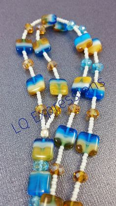 Beaded lanyard Czech Tile Glass Beads-Beautiful by LQ Expressions Lanyard Crafts, Beaded Lanyards, Agate Necklace, Badge Holders, Blue Crystals, Czech Glass Beads, Teddy Bears, Black Friday, Seed Beads
