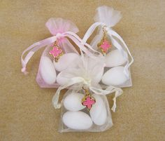 Girls Baptism Favors Organza Pouches with Jordan by VessCrafts