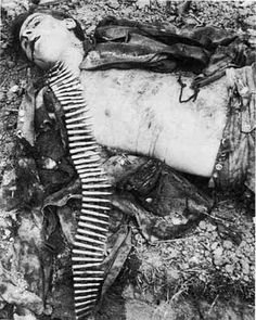 "Nazi machine gun team member SS Panzer Division 12th ""Hitlerjugend"", who was killed near a ditch in the Malon, Normandy, July 9, 1944"