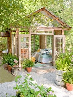 Awesome! $400 Garden Retreat made mostly from repurposed materials download plans at bhg.com/gardenhut by bego fenix