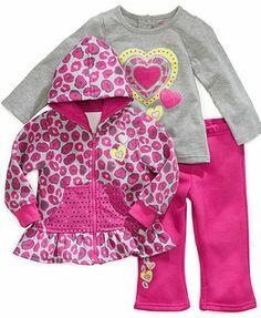Nannette Kids Set, Little Girls 3-Piece Sequin Hoodie, Shirt and Pants