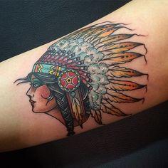 Beautiful native American woman tattoo by Joe Pepper
