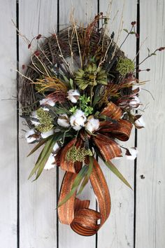 Wildflower Cotton Boll Wreath Raw Cotton Bolls by FloralsFromHome! Very popular for country/primitive decor!