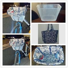 Bicycle Basket Liner- My bike came with a plain black basket, so I spray painted it white ($0.96 can of spray paint), found an inexpensive bag with a pattern that I liked ($3 at Walmart) & flipped the bag inside out so there were drink pockets inside the bag! Easy way to create a basket liner under less than $4!