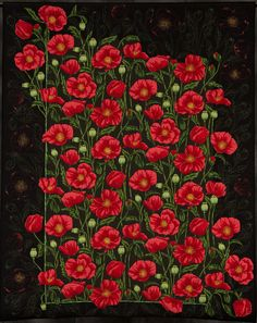 """A festival of poppies by Charlotte Freeman. Printed poppies were cut out then appliquéd into the borders to create this """"whole cloth"""" appliqué quilt. Poppy design quilting mimics the printed fabric.  2012 Road to California"""