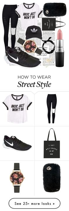 """""""Street Style"""" by amyvanstein on Polyvore featuring H&M, NIKE, Olivia Burton, MAC Cosmetics, adidas, women's clothing, women, female, woman and misses"""