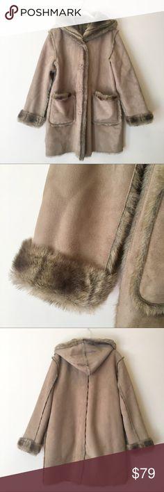 Dennis Basso Faux Suede & Fur Coat Reversible faux suede and fur tan button up coat by Dennis Basso.  Super soft faux fur.  Pockets on both reversible sides.  Machine washable!  Size Medium.  Excellent condition! Dennis Basso Jackets & Coats