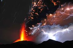 Lightning and Lava.../ Shinmoedake peak erupts in the early morning in Japan ... ~bl~ Courtesy of MSN.../