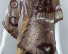 Nuno Felt Shawl Scarf Bohemian Wrap in Mocha Brown Crinkle Cotton -    Edit Listing  - Etsy