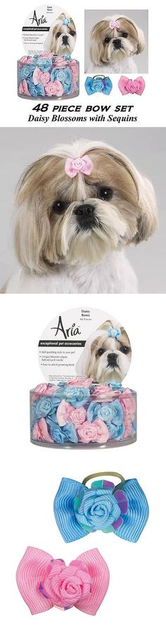 Other Dog Grooming 177794: 48 Pc Dog Grosgrain Ribbon Daisy Blossomandsequins Pinkandblue Bows Hair*Top Knot -> BUY IT NOW ONLY: $33.99 on eBay!
