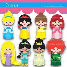 Printable Clipart Clip Art Digital PDF PNG File - My Baby Girl Princess Snow White Mermaid