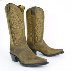SN1006 - Brown leather cowgirl boots with intricate stitching design on the shaft. Leather outsole. - Alcala's Western Wear