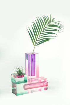 Korea-based design studio HATTERN looked to art print Impressionism of the 19th century when designing their Mellow Collection of acrylic vases.