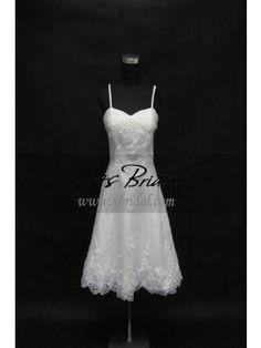 A-line Sweetheart Knee-length Satin Organdy Beach Wedding Dress WAL0185