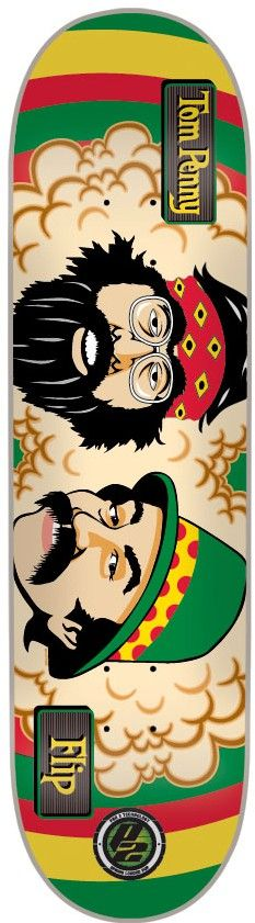 Flip Penny Cheech And Chong 8.0 P2 Skateboard Deck - rasta - Skate Shop > Skateboard Parts > Skateboard Decks > Standard Skateboard Decks