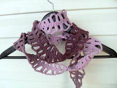 Crochet Lariat Purple Herringbone Scarf Under by SmilingKnitting, $24.00