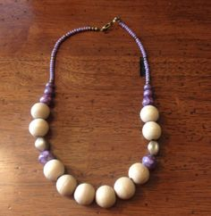 Handmade Wood Bead Necklace with Lilac Purple Accents by FadedBead, $20.00