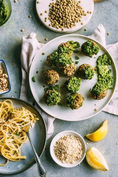Lentil Meatballs topped with almond pesto