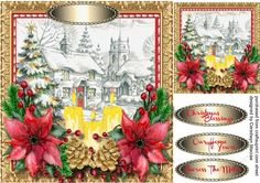 A lovely card with a beautiful Church with Candles and Poinsettias has three greeting tags and a blank one