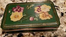 ANTIQUE VINTAGE LOFT CANDY TIN 1 LB Hinged BOX Pansies Pansy Floral Flower