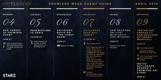 Outlander Season 2 Premiere Week Schedule - Outlander is taking over NYC for premiere week – Stay on top of the outlandish events! Source