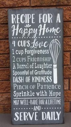 "RECIPE FOR A HAPPY HOME KITCHEN SIGN/BRIDAL SHOWER/WEDDING/CHRISTMAS GIFT/KITCHEN DECOR All prices are shown in Canadian funds. The exchange rate will show on your pay pal or credit statements. This is a wood sign. The sign shown has been stained, painted grey with white text then moderately distressed and sealed for indoor use. Color options are available so please make your color selection when purchasing. Measurements: 12"" x 24"" 3/4"" thickness Th..."