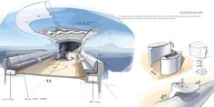 This is a super yacht concept. Cercio is the Award Winning design of Young Designer of the Year 2016 Competition. Yacht Design, Boat Design, Boat Sketch, Weather Crafts, Yacht Interior, Interior Sketch, Interior Design, Yacht Boat, Used Boats