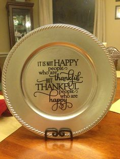 Thankful Vinyl Decorated Charger Plate on Etsy, $10.00