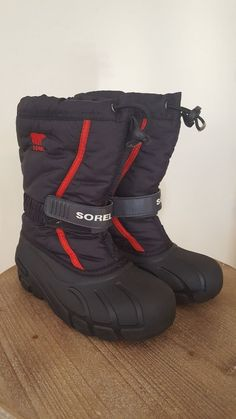 a71ad016d44 Sorel flurry boots snow winter boys girls big kids size 2 black and red   fashion