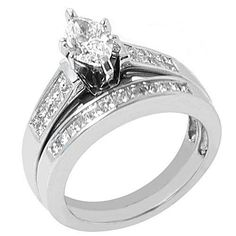 14k White Gold Marquise Diamond Engagement Ring Bridal Set 1.10 Carats