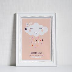 """Kunstdruck - Art print """"Baby Cloud"""" Individualisierbar mit Baby´s Datei (Name, Geburtsdatum...) Bitte hinterlassen Sie an der Kasse Ihre Individualisierungswünsche: Name des Babys, Geburtsdatum,..."""