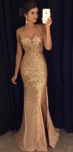 Sexy Beading Prom Dress,Gorgeous Prom Dress,Long Prom Dress,Sexy High Slit Prom Dress,Sexy Evening Party Gowns,Formal Gown