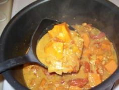 """Vegan African Sweet Potato Stew - Ami - """"This is a healthy stew and it's one of my favorites sounds weird but it's really good"""" African Stew, African Peanut Stew, Raw Food Recipes, Soup Recipes, Vegetarian Recipes, Recipies, Sweet Potato Stew Recipe, Canning Whole Tomatoes, Vegan Chef"""