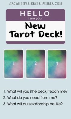 Hello I Am Your New Tarot Deck Spread.Edit: Last card position should be THREE not Four. OOPS! lol