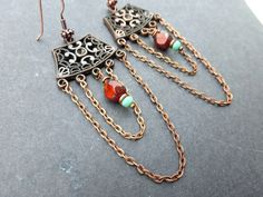 Czech glass and copper metal earrings. Chain, long dangle, red and copper. - - McKee Jewelry Designs - 2