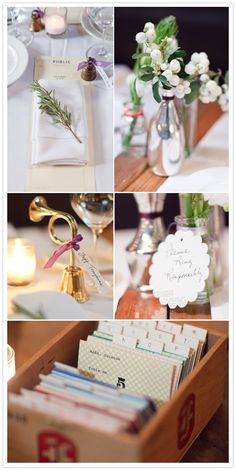 library card catalog for tables; sweet vintage noisemakers for favors; simple table setting