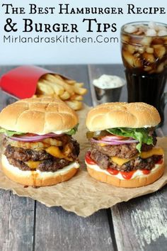 Hamburger Recipes - The BEST and juiciest - plus tips to make all of your ground beef burgers turn out perfectly - via Mirlandras Kitchen