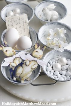 Organize your Easter findings in a vintage pastry pan.  <3www.HolidaywithMatthewMead.com