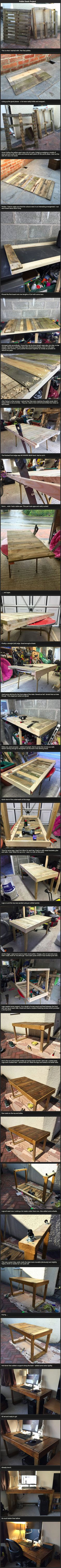 How one geek transformed old pallets into a sleek computer desk.