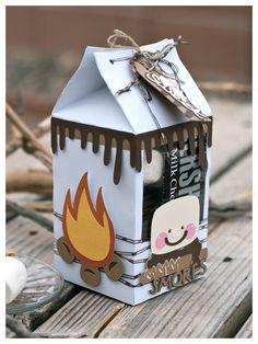Turn your Cute Milk Carton into a yummy Summer S'mores Gift Box. Mini Milk, Milk Box, Milk Carton Crafts, Milk Cartons, Craft Gifts, Diy Gifts, 3d Paper Crafts, Candy Crafts, Carton Box