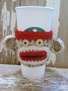Sock   Monkey    crocheted  Coffee or Tea  COZY    by KnottyMonkey, $10.00