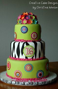 Funky Zebra Cake.  Would be so cute for my daughter, Kiana.  Although she has 4 and a half years before she turns 16.